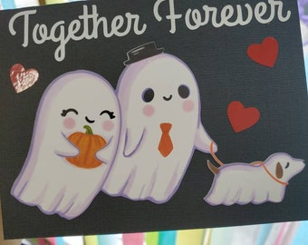 Ghost Valentines card, spooky love card, halloween Valentines