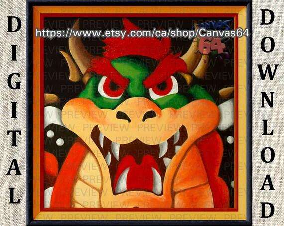 Bowser Portrait Digital Download Super Mario 64 Painting From Princess Peache S Castle