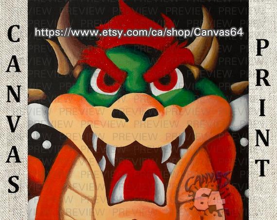 Bowser Portrait Canvas Print Super Mario 64 Painting From Princess Peache S Castle