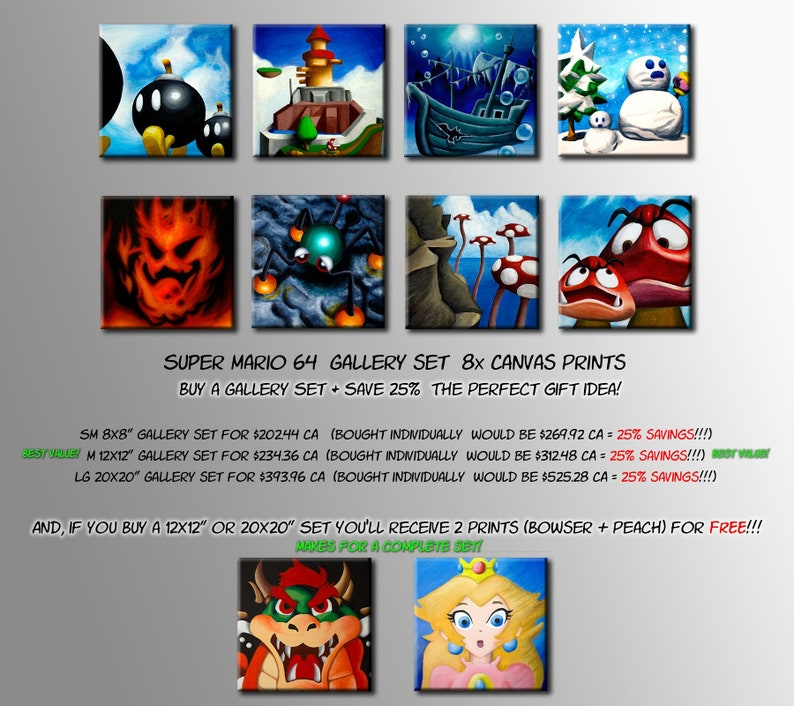 Super Mario 64 Gallery Set! 8 Paintings from the Princess's Castle (Canvas  Prints) *Check Image and description for Exclusive offer*