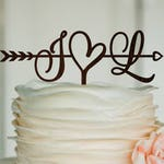 Initials Cake Topper Wedding Arrow Cake Topper Rustic Cake Topper Engagement Cake Topper Wedding Decoration Gold Cake Topper Wood Silver