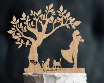 Wedding Cake Topper Mr & Mrs Cat Rustic Cake Topper Wedding Wood Decor Silhouette Couple Bride and Groom Personalized Cake Topper Wedding