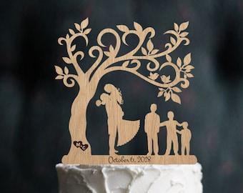 Wedding Cake Topper with Children Bride and Groom Family Silhouette Wedding Cake Topper with three Boy Wedding Cake Topper Birthday Gift