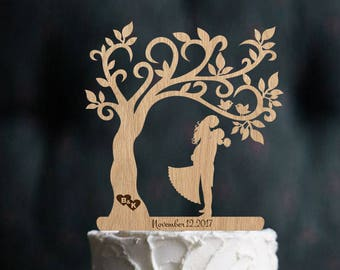 Wedding Cake Topper Mr and Mrs Topper Wood Cake Topper Rustic Cake Topper Silhouette Couple Topper Tree Wedding Cake Topper Wedding Date