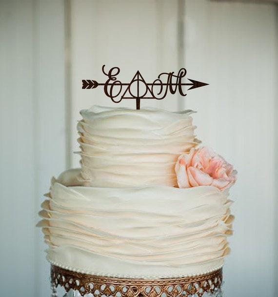 Harry Potter Wedding Initials Cake Topper Arrow Harry Potter Etsy