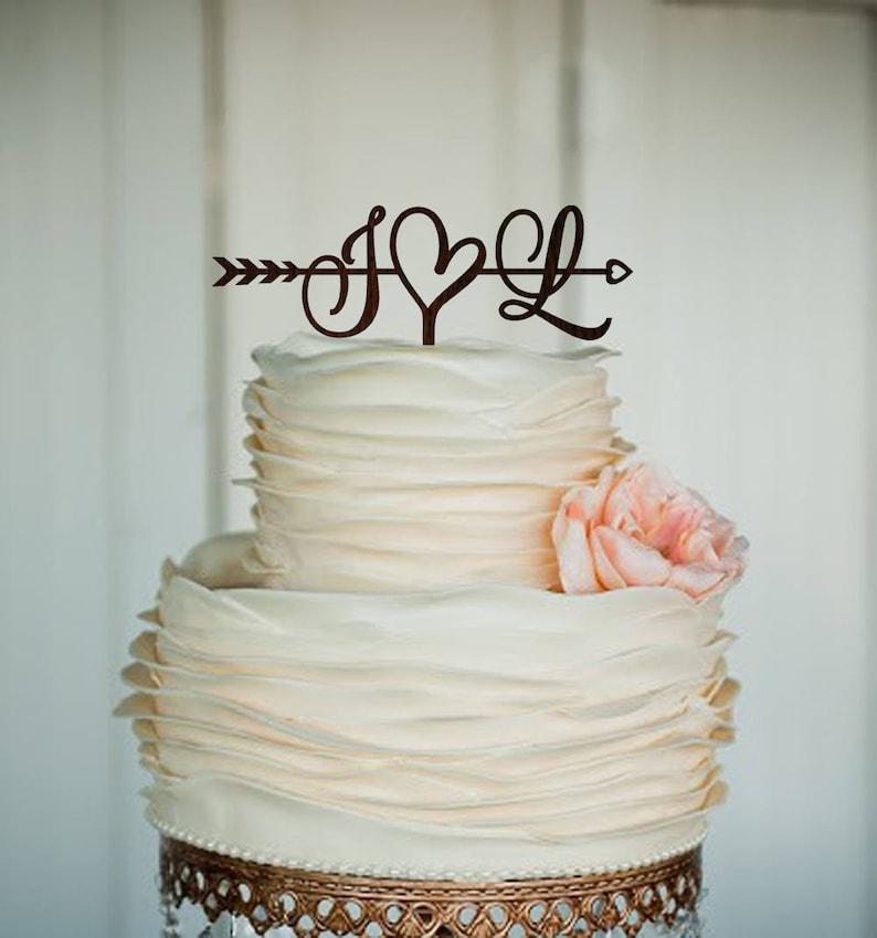 Initials Cake Topper Wedding Arrow Cake Topper Rustic Cake image 0