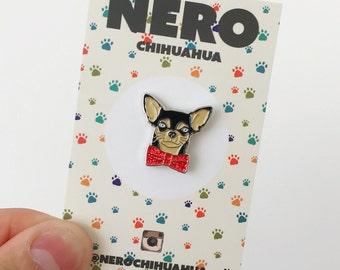 Chihuahua Dog Bow Tie Christmas Festive, Soft Enamel Pin, Lapel Pin