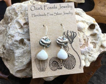 Tiny Fine Silver Crinoid with Dangling Peruvian Opal Briolette on Sterling Silver Earhooks