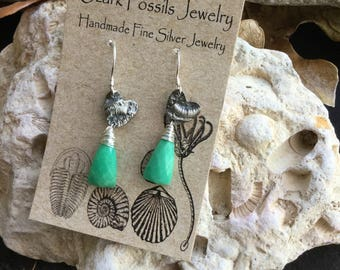 Tiny Fine Silver Crinoid Hearts with Chrysoprase Elongated Triangles on Silver Earhooks