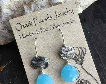 Tiny Fine Silver Crinoid with Blue Chalcedony Briolettes on Sterling Silver Earhooks