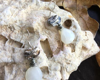 Tiny Fine Silver Crinoid with Moonstone Briolettes on Sterling Silver Earhooks