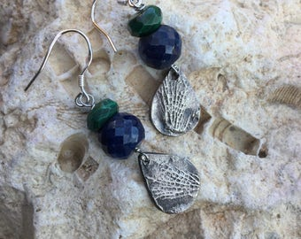 Bryozoan Fossil with Lapis Lazuli and Malachite Stones on Sterling Silver Earhooks
