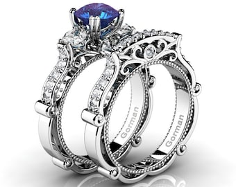 c44d98378148cb Classic Italian 14K White Gold 2.0 Ct Alexandrite White Sapphire Diamond  Three Stone Engagement Ring Wedding Band Set G1108S-14KWGDWSAL