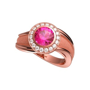 GDS Gorman Designs 14K Rose Gold Pink Sapphire Masquerade Ring  G1106-14KRGPS
