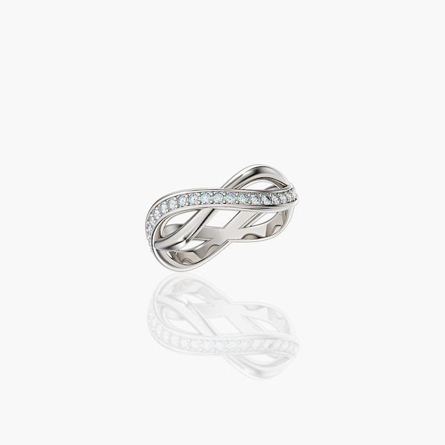 Half Infinity 14k Whie Gold Diamond Wedding Band G1213 14kwgd Etsy