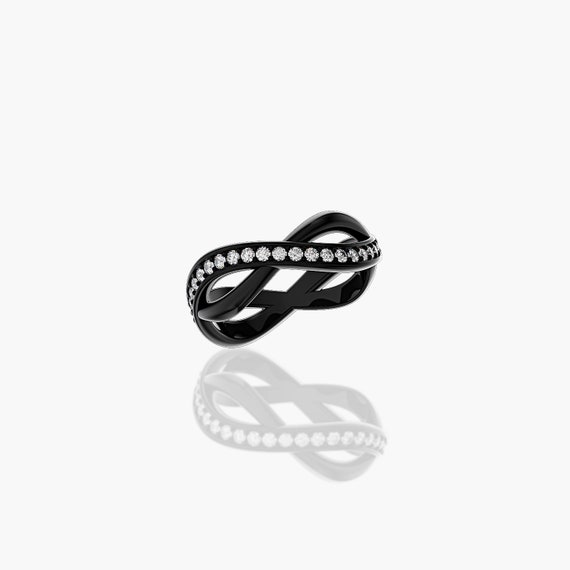 Half Infinity 14k Black Gold Diamond Wedding Band G1213 14kbgd Etsy