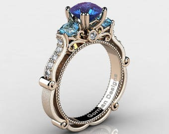 Classic Italian 14K Rose Gold 1.5 Ct Russian Alexandrite Blue Topaz Diamond Three Stone Engagement Ring G1108-14KRGSDBTAL