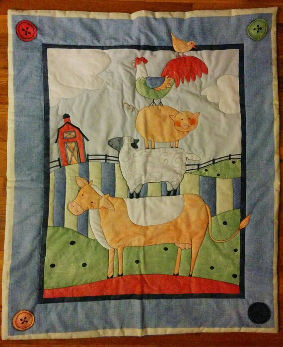 BABY  AT  PLAY  CONSTRUCTION  ZONE    Quilt Top Wallhanging  Panel
