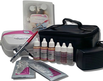 Tickled Pink Cosmetic Airbrush Makeup Kit with 89% Organic Water Based Makeup Infused with Organic Aloe Juice