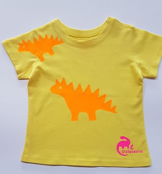 61ea43cb1 Dinosaur t-shirt for girls neon orange stegosaurus on yellow | Etsy