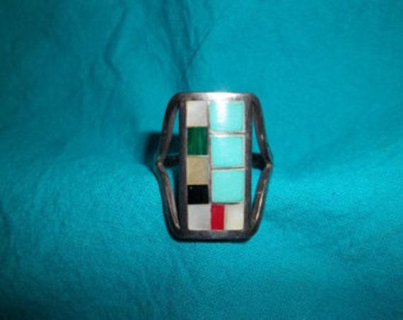 SALE Multi Stone Silver Ring Size 11