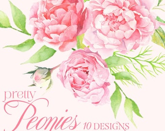 Pink flower clipart etsy peonies watercolor clipart pink flower clipart peonies clipart watercolor flowers clipart vintage roses bouquets elements png digital set mightylinksfo