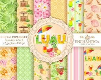 Luau Digital Paper, Digital Paper Luau, Luau Digital Pattern, Hawaiian Digital Paper, Luau Scrapbook Paper, Tropical Luau Digital Background