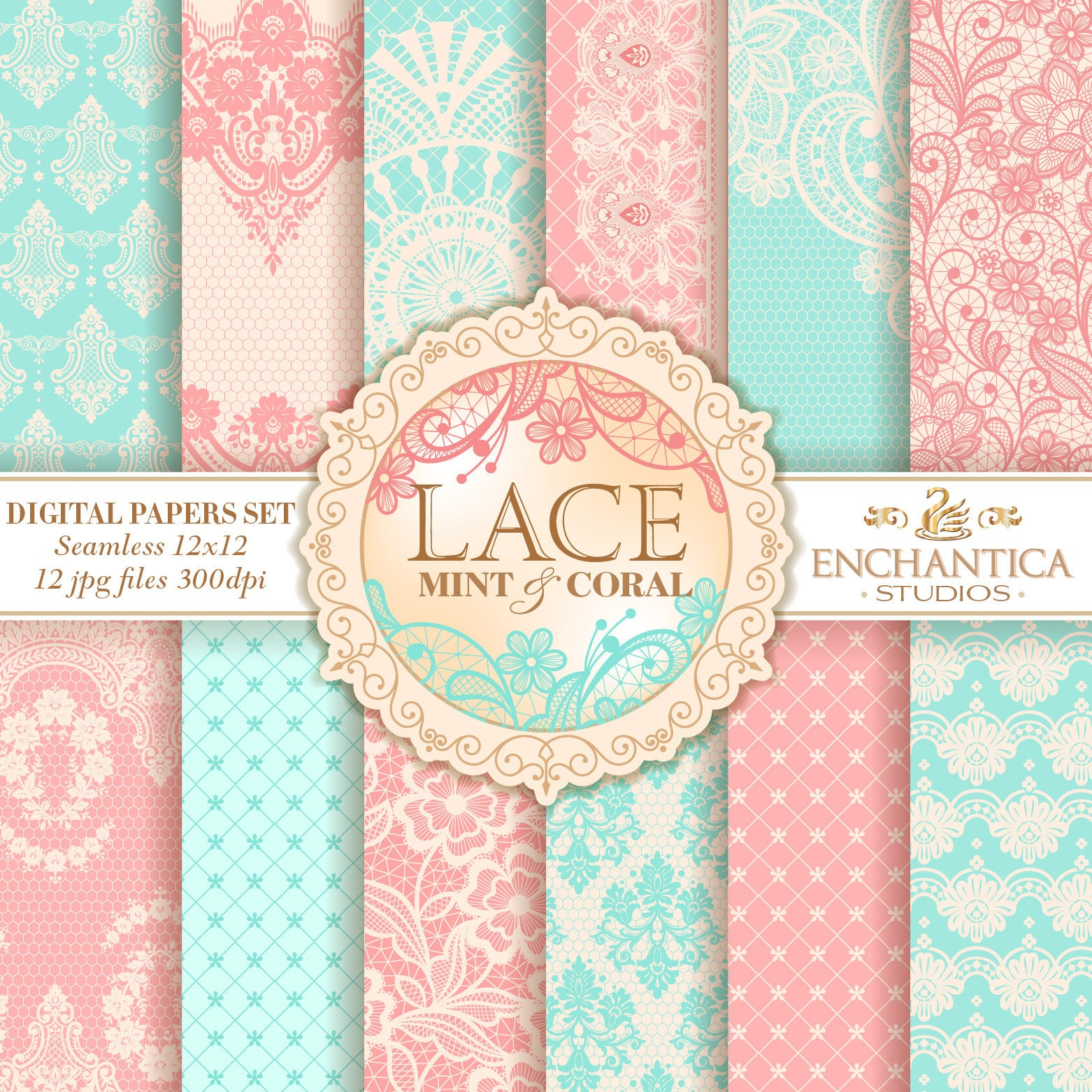 Lace Digital Paper Digital Paper Lace Mint Digital Paper | Etsy