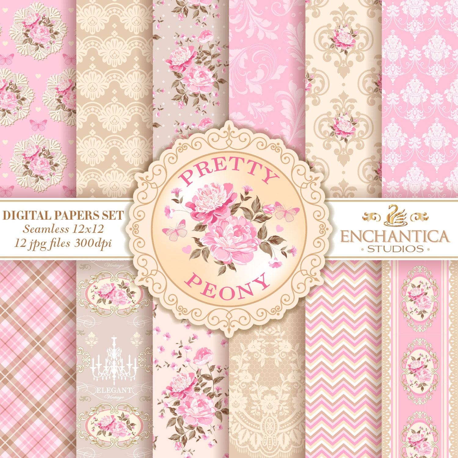 Digital Paper Shabby Chic Shabby Chic Paper Vintage Floral ...