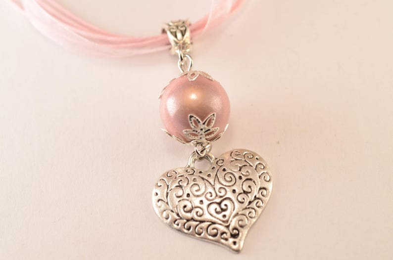Pink heart and Pearl Necklace