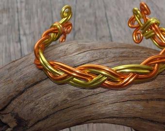 Yellow and orange braided bracelet