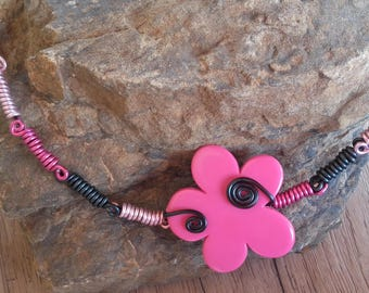 Pink and black flower Choker necklace