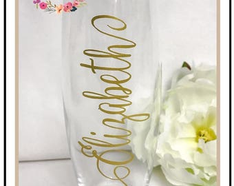 SALE // Personalized Stemless Champagne Glasses // Bridesmaids Gifts // Hostess Gifts // Wedding Party Gifts // Monogrammed Wine Glasses