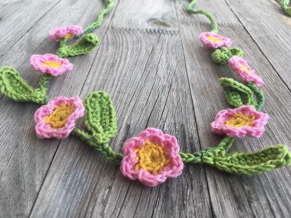 crochet flower wreath for binding for flower children flowers in orchid