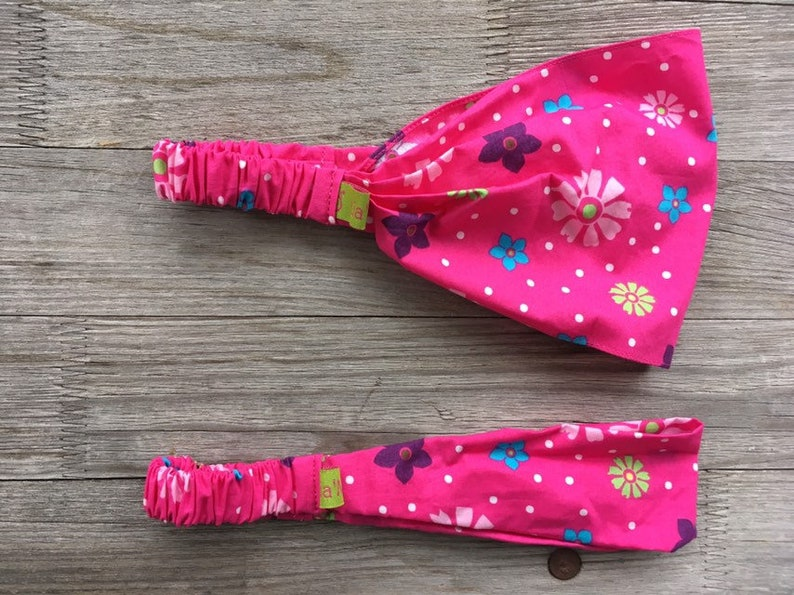 1 hairband girl flowers colorful on pink