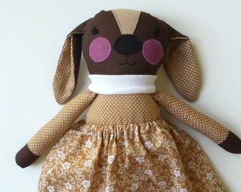 Rag Doll Puppy Dog in Skirt, Stuffed Animal Doll named Trixie