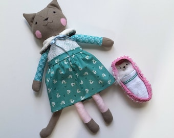 Heirloom Rag Doll Cat with Kitten in Moses Basket, Play Set, Cat Doll named Mia