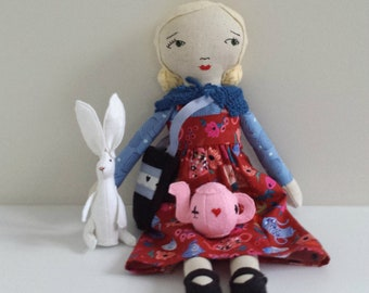Alice in Wonderland Inspired Cloth Doll with Hare and Teapot Accessories, Rag Doll named Alice