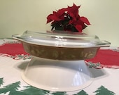 Vintage Pyrex Early American, Brown and Gold divided casserole baking dish with lid.