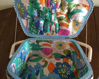 Unique shaped, vintage sewing basket.