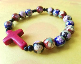 One Decade Catholic Rosary Stone Bracelet