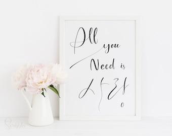 All you need is love, Korean wall art, Love printable wall art, Modern printable, Black and White wall art, Love decor wall