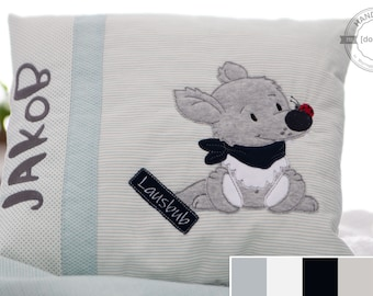 """Children's pillow """"Wölfchen"""", gift for birth or baptism, personalized baby and children's pillow"""