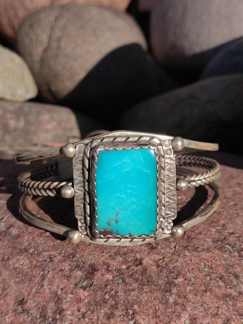 Very Vivid Turquoise Vintage Navajo Silver Cuff