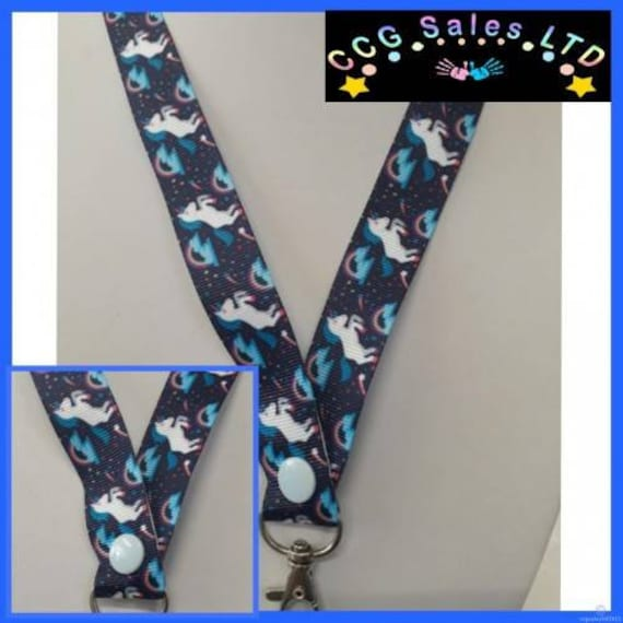 Handmade Rainbow Unicorn Ribbon Lanyard Complete With Safety Release Clip