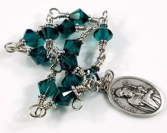 Saint Patrick's Chaplet, Handmade Emerald Green Swarovski St Patrick's Chaplet, Wire wrapped Unbreakable Rosary, Patron Saint of Ireland
