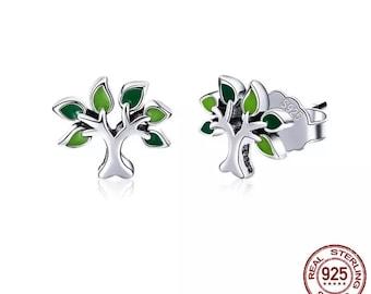 Birthday gift  SK119 Minimalist earrings 7 mm Tiny Tree of Life Earrings Tree in Circle earrings Family tree stud