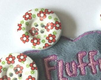 5 boutons en bois - 2.8 cm - peint motif fleurs