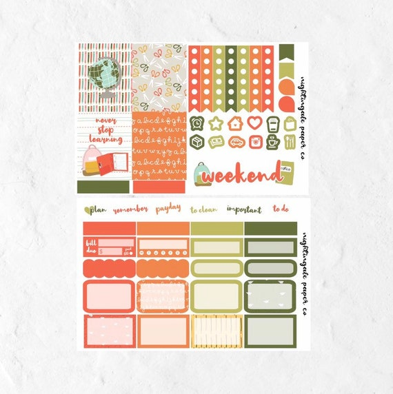 Never Stop Learning Back to School Mini Planner Sticker Kit for use with  Erin Condren Lifeplanner