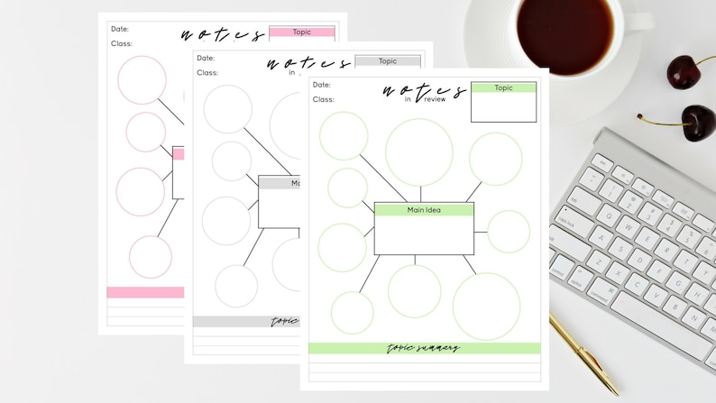 Note Writing Template Rewriting Notes Layout 3 Printable Digital Download Instant Download Files Mind Map Template Mind Mapping Student